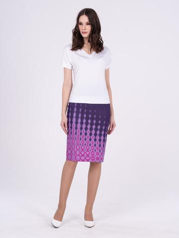 Фото летняя обтягивающая юбка с разрезом и принтом в горошек - Юбка Б101-537 (1)