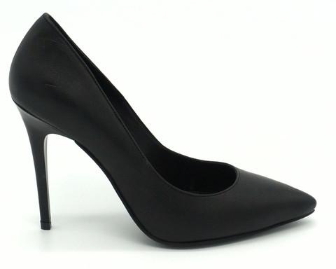 Черные кожаные туфли лодочки на изящной шпильке