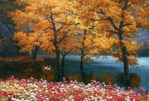 Картина раскраска по номерам 50x65 Деревья в озере