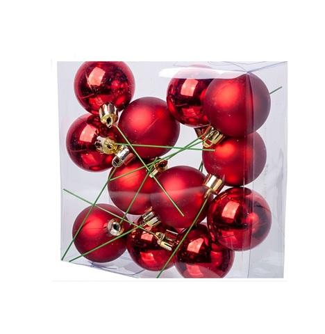 Набор шаров на проволоке 12шт. (пластик), D4см, цвет: красный