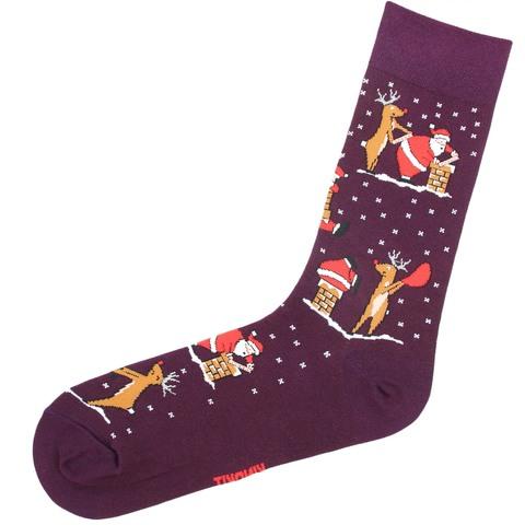 Носки Санта бордовый