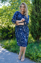 Алевтина. Нежное платье больших размеров. Цветы синий.