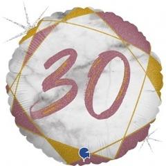 Г Круг 30 Цифра, Мрамор Розовое золото, Голография, 18