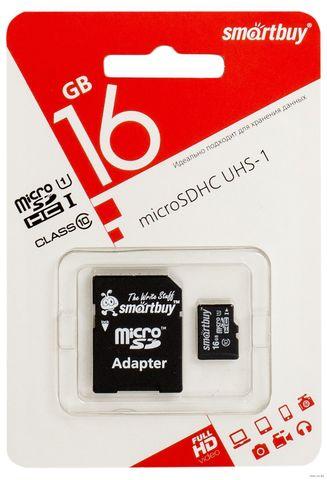 Карта памяти Smart Buy microSD 16GB Class 10 с адаптером