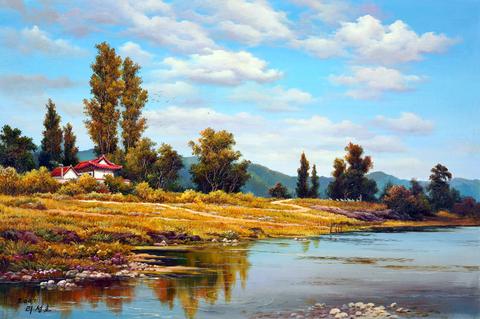 Картина раскраска по номерам 50x65 Домики в дикой природе