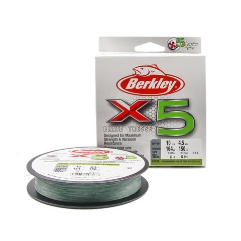 Плетеная леска Berkley X5 150м Темно-зеленая 0,12мм 4,5кг
