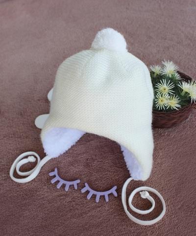 Утепленная шапка для новорожденных  (0-3 мес, молочный)