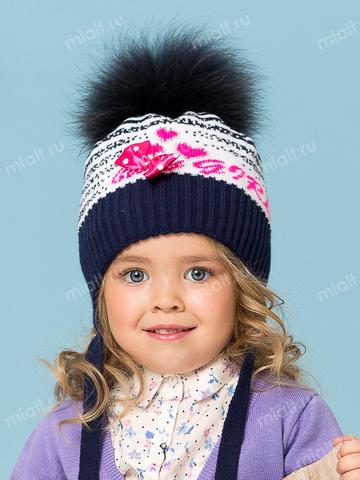 Зимняя шапка и шарф для девочки Mialt Baby girl синяя