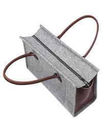 Войлочная сумка Gmakin Berry серая с коричневым кожзамом