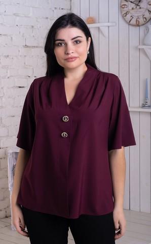 Хильда. Нежная женская блуза больших размеров. Бургунди