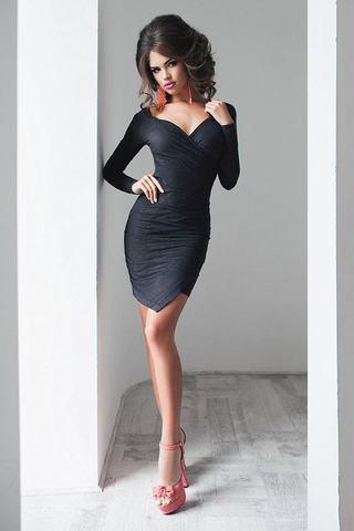 Короткое платье замшевое, графитового цвета 3
