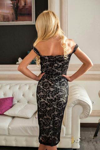 Кружевное платье-футляр на бретелях, черное с подкладкой телесного цвета 1