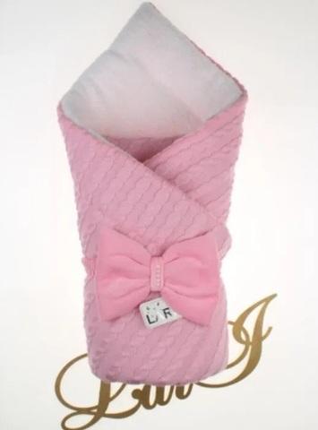 Вязаный конверт одеяло Дуэт 2 (розовый)