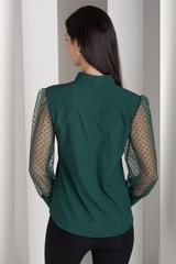 Милена. Изысканная блузка с оригинальным рукавом. Изумруд