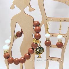 Бусина Авантюрин (искусств), шарик, цвет - коричневый, 10 мм, нить
