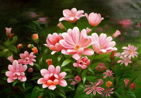 Картина раскраска по номерам 50x65 Розовые цветы вблизи