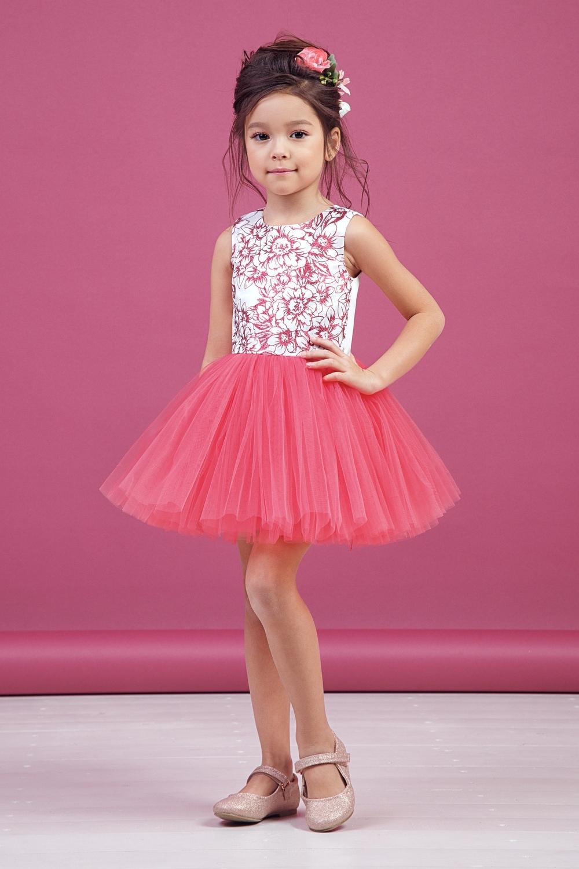 Платье коралловое для девочки 38-9011-3