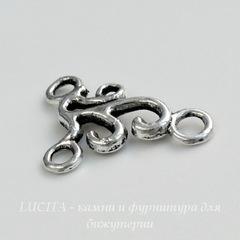 Коннектор (1-2) 20х17 мм (цвет - античное серебро)