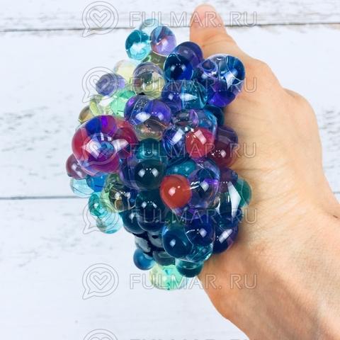 Игрушка-антистресс Виноград Mesh Savish Ball Цветной Шарики внутри чёрная сетка