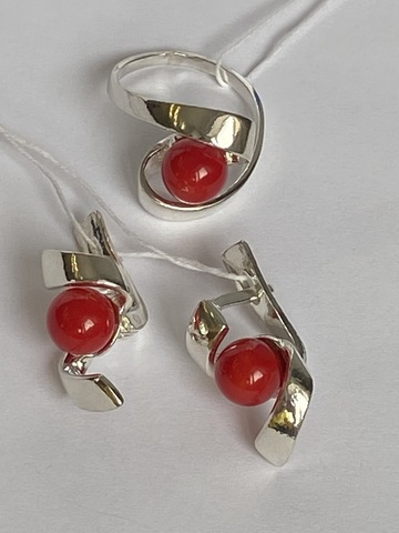 Ранида (кольцо + серьги из серебра)