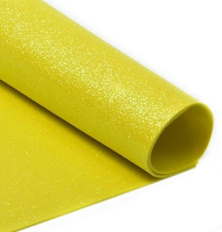 Глиттерный фоамиран. Цвет: желтый