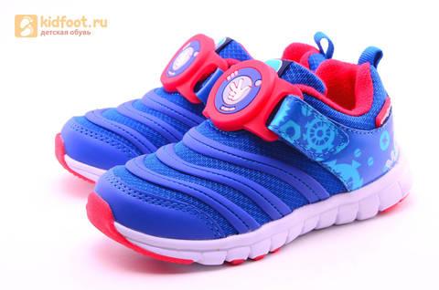 Светящиеся кроссовки для мальчиков Фиксики на липучках, цвет Синий, мигает пряжка на липучке, 5916D. Изображение 6 из 18.