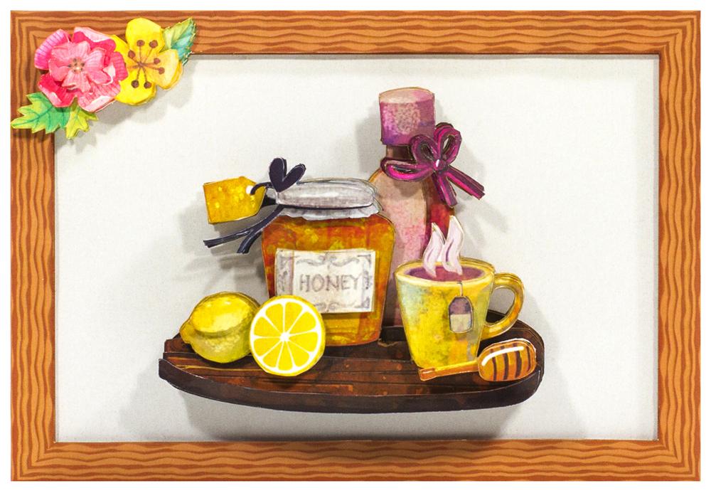Папертоль Чай с медом — готовая работа, вид спереди.