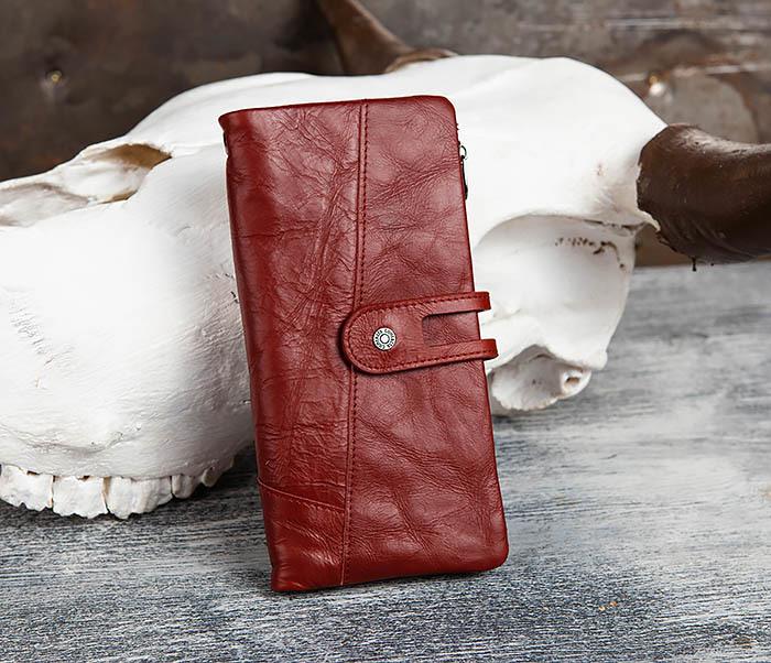 WL299-3 Мужской клатч из красной мятой кожи