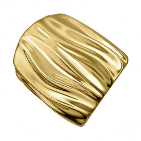 Широкое стильное кольцо из серебра в лимонной позолоте