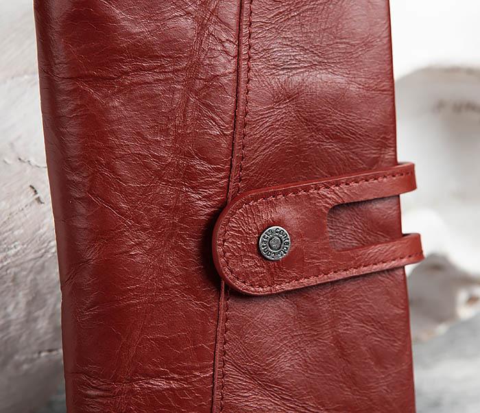 WL299-3 Мужской клатч из красной мятой кожи фото 02