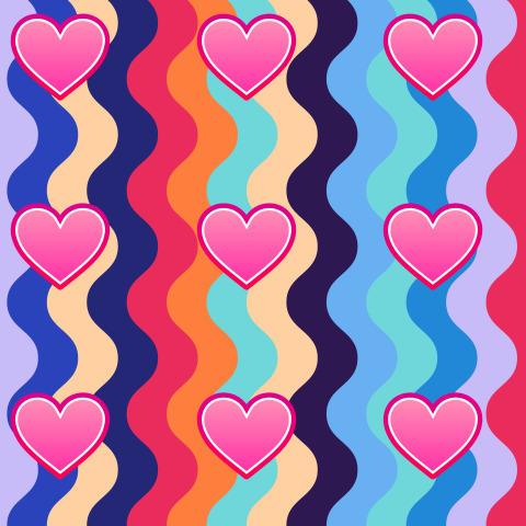 Разноцветные вертикальные волны и розовые сердечки