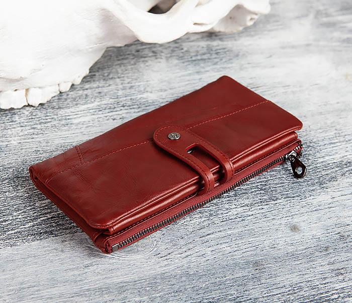 WL299-3 Мужской клатч из красной мятой кожи фото 03