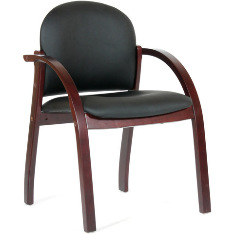 Конференц-кресло Chairman 659 черный матовый (искусственная кожа/темный орех)