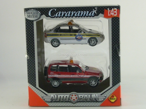 VAZ-2118 Lada Kalina MChS and Chevrolet-Niva Fire Department Cararama 1:43
