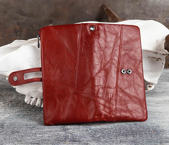 WL299-3 Мужской клатч из красной мятой кожи фото 04
