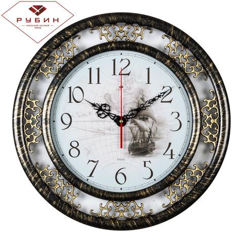 4545-005 (5) Часы настенные круг d=45 см, корпус черный с золотом