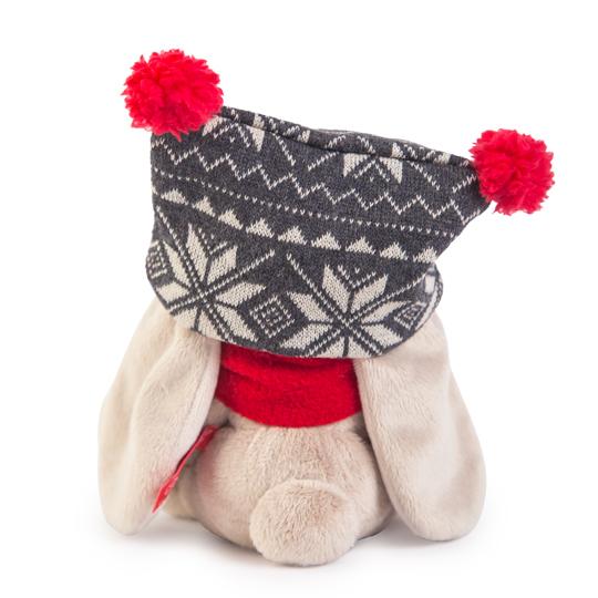 Зайка Ми в черной шапке с помпонами и красном шарфике