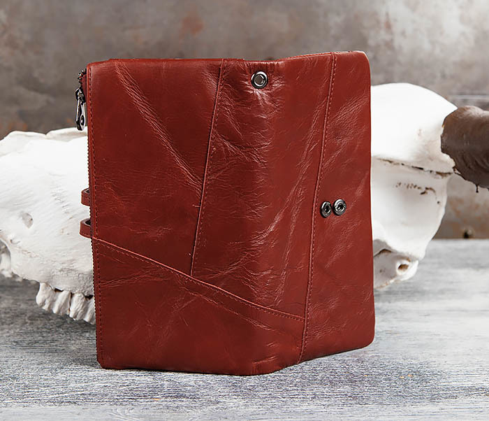 WL299-3 Мужской клатч из красной мятой кожи фото 05
