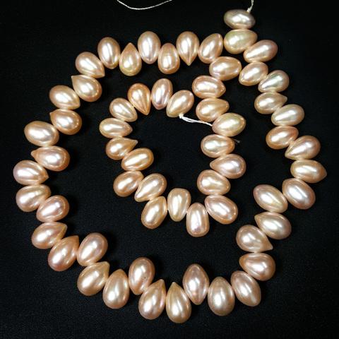 Бусина жемчуг Капля цвет персиковый 10х7 мм 1 бусина