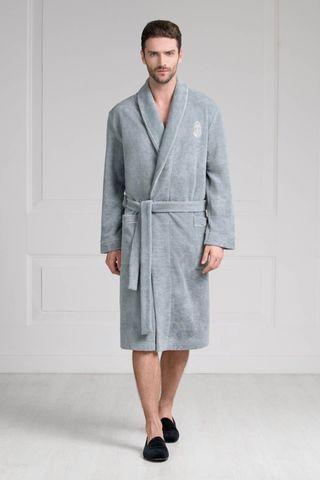 Мужской халат 11007-4 серо-зелёный Laete