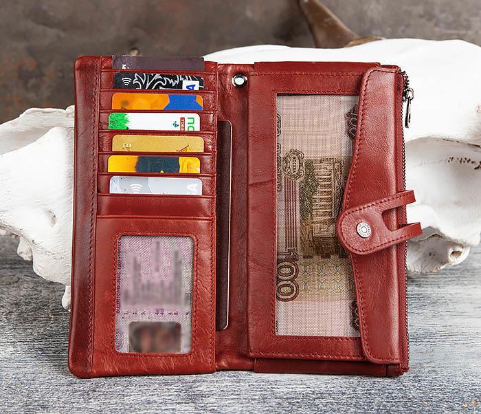 WL299-3 Мужской клатч из красной мятой кожи фото 07