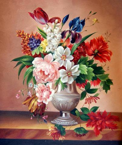 Картина раскраска по номерам 50x65 Разноцветный яркий букет