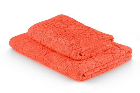 Полотенце махровое жаккардовое (Морковный)