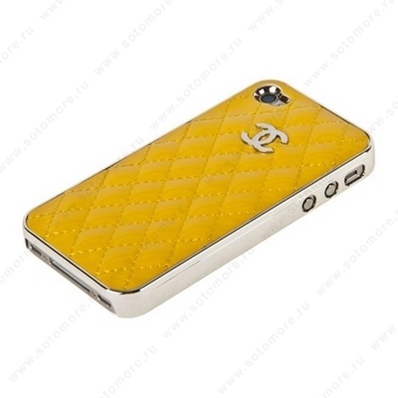 Накладка CHANEL для iPhone 4s/ 4 серебряная+желтая глянцевая кожа