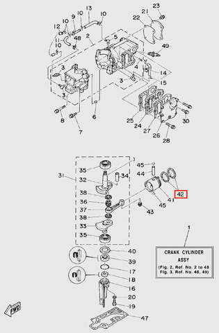 Кольца поршневые (комплект 2шт)  для лодочного мотора T5 Sea-PRO (2-42)