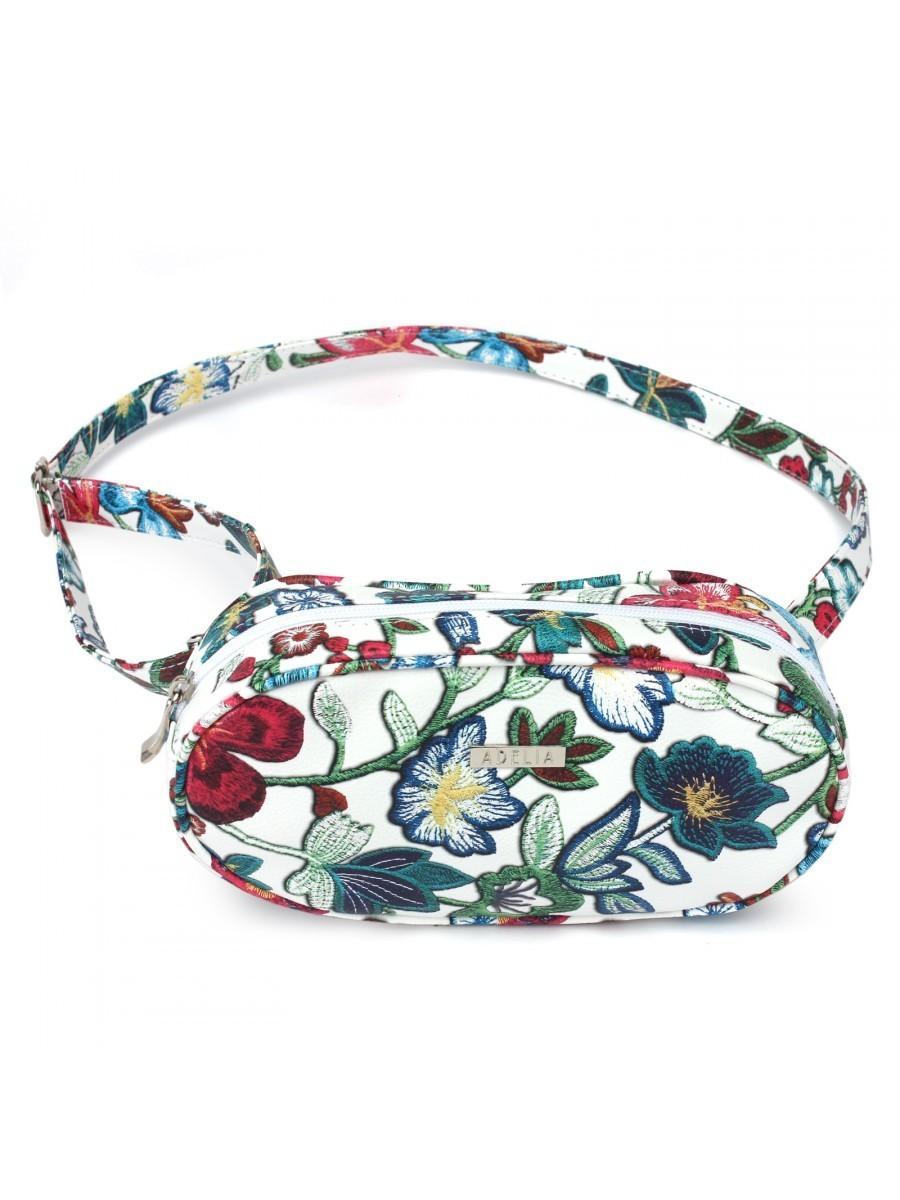 Стильная поясная сумка с цветочным принтом