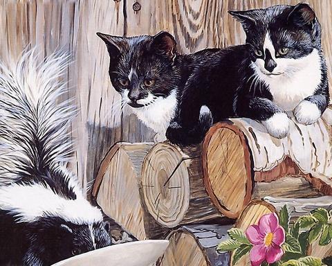 Картина раскраска по номерам 50x65 Черно-белые животные