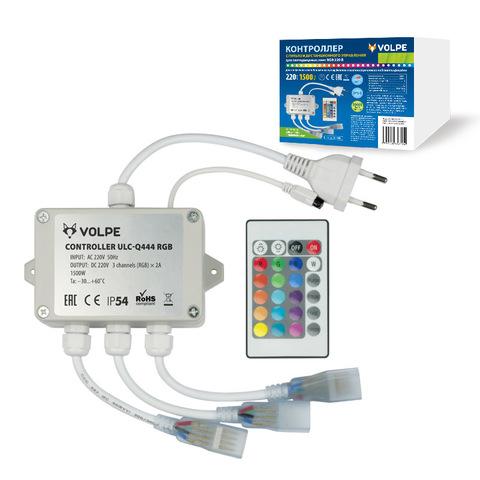 ULC-Q444 RGB WHITE Контроллер для управления светодиодными RGB ULS-5050 лентами 220В, 3 выхода, 1440Вт, с пультом ДУ ИК. ТМ Volpe.