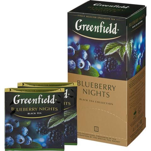 Чай Greenfield Blueberry Nights черный с черникой 25 пакетиков
