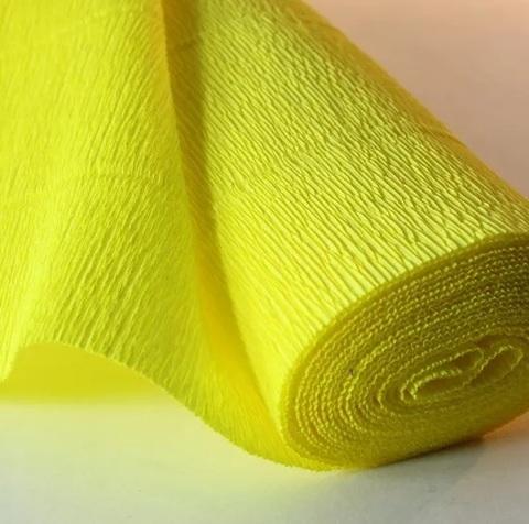 Бумага гофрированная, цвет 975 лимонный, 140г, 50х250 см, Cartotecnica Rossi (Италия)